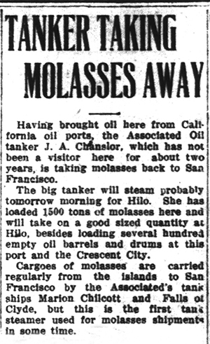 100 Years Ago – Shipping Molasses