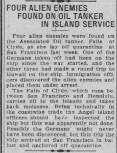 100 Years Ago – Aliens on Falls of Clyde